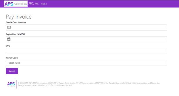 APS ClickToPay Online Payment Screenshot